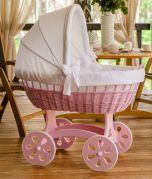 Moisés XXL HOME - color de la madera Rosa - con ropa de cama